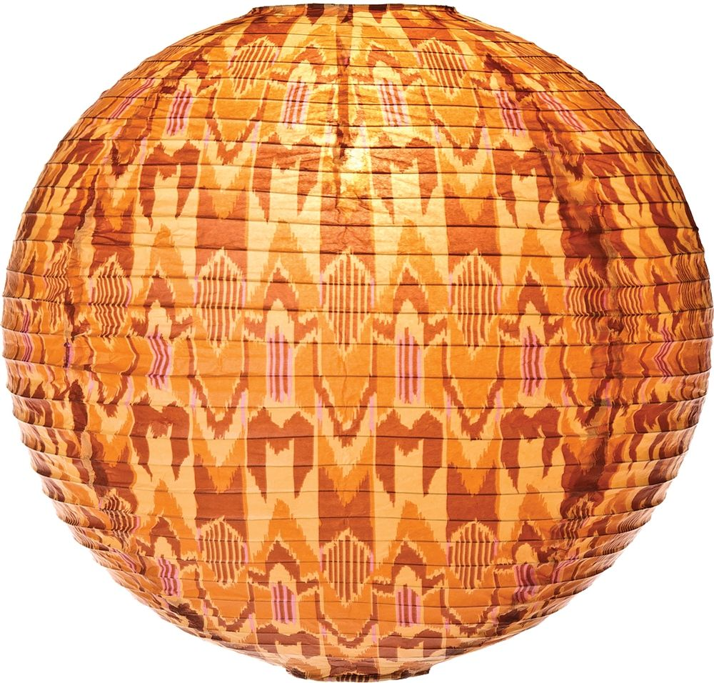 Instant autumn warmth with the orange glow of an ikat lantern.