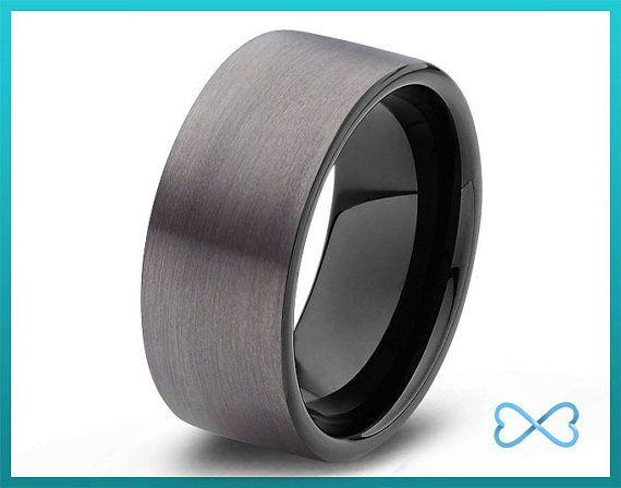 Tungsten Wedding Bands Mens Ring Black Band Rings