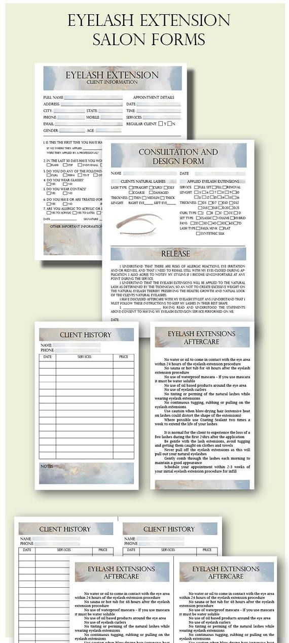 Eyelash Extension Client Forms, Client Information Form, Eyelash - audition form