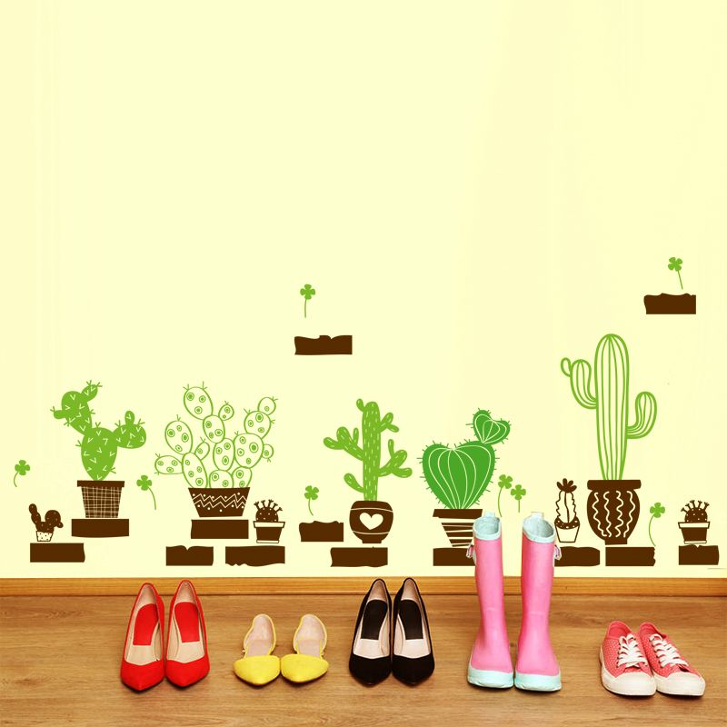 shijuehezi] pot plant cactus wall sticker vinyl diy mural art for