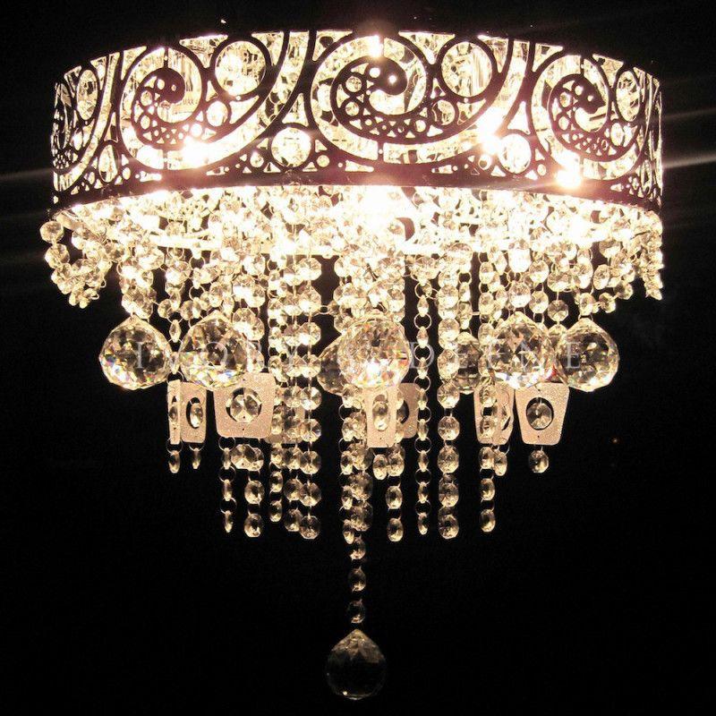 VINTAGE CRYSTAL Pendant Chandelier Silver 5 Light