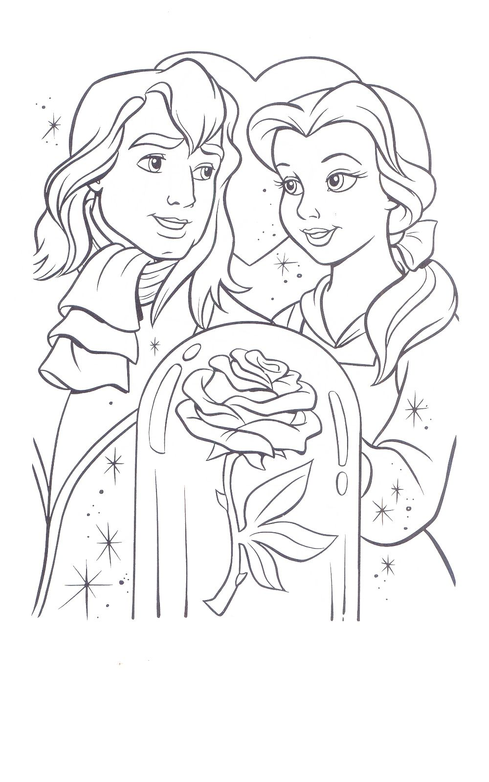 Beauty And The Beast Coloring Page With Images Disney Princess