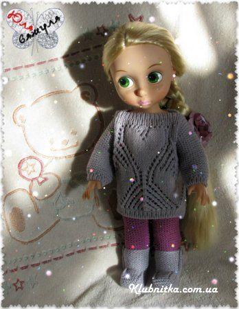 тёплое вязание для куклы рапунцель дисней клуб нитка вязание