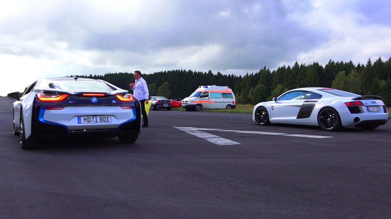 Drag Race Bmw I8 Vs Audi R8 V10 Plus Automotors Gr Audi R8 V10 Plus Bmw I8 Audi