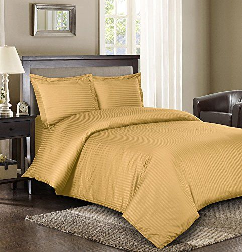 Royal Hotel Stripe Gold 3pc Fullqueen Comforter Cover Duvet Set 100percent Cotton 600threadcount Sa Striped