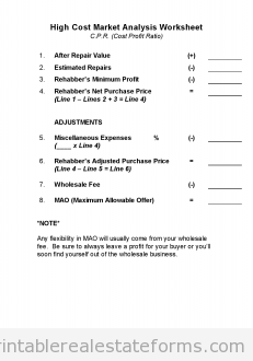 Sample Printable High Cost Market Analysis Worksheet Form  Sample