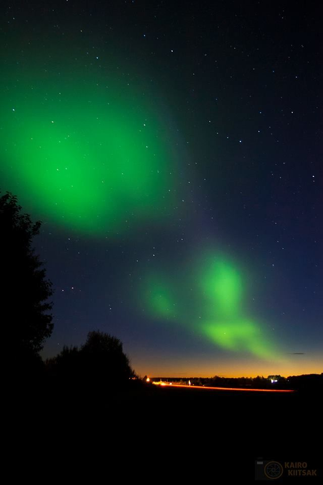 """Green lights in the sky"" Aurora Borealis over Estonia on 7th of October 2015."