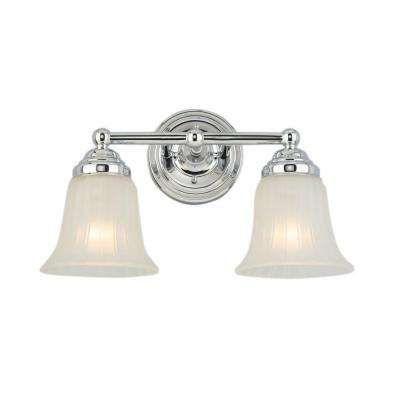 2 Light Chrome Vanity Light With Frosted Glass Shade Chrome Light Fixture Light Fixtures Bathroom Vanity Bathroom Lighting