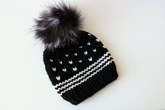ccee3d78 Knitted Fair Isle Knit Beanie Hat with Faux Emu Fur Pom Pom. Handmade in  Black and White Chunky, Woo