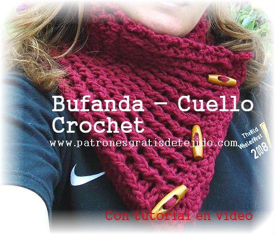 Cuello tejido a crochet con botones tutorial | accesorios tejidos ...