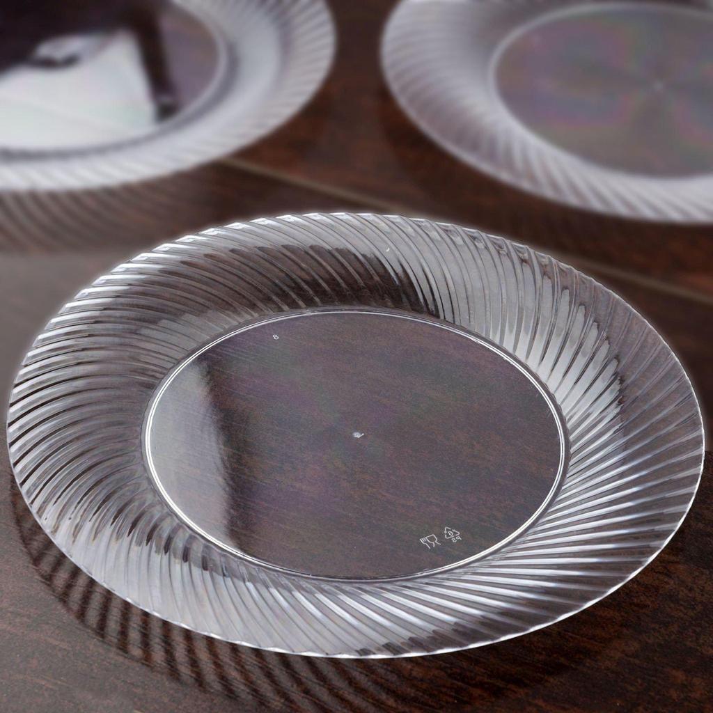 10 Pack 10 Clear Round Disposable Plastic Twirl Rim Dinner Plates Clear Plastic Plates Plates Plastic Dinnerware