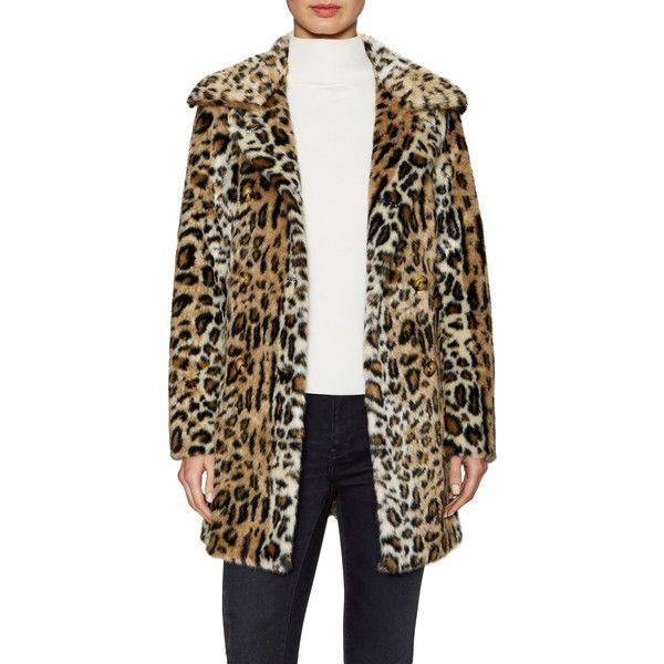 ABS by Allen Schwartz Women's Double Breasted Leopard Faux Fur Coat ($199) ❤ liked on Polyvore featuring outerwear, coats, double breasted coat, imitation fur coats, leopard faux fur coat, faux fur coat and leopard print faux fur coat