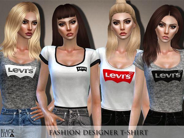 750cabab9e4f17 Fashion Designer T-Shirt by Black Lily at TSR • Sims 4 Updates ...