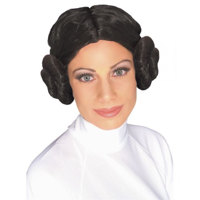 Leia Wig Headband Hair Buns Star Wars Ladies Fancy Dress Adult Costume Accessory