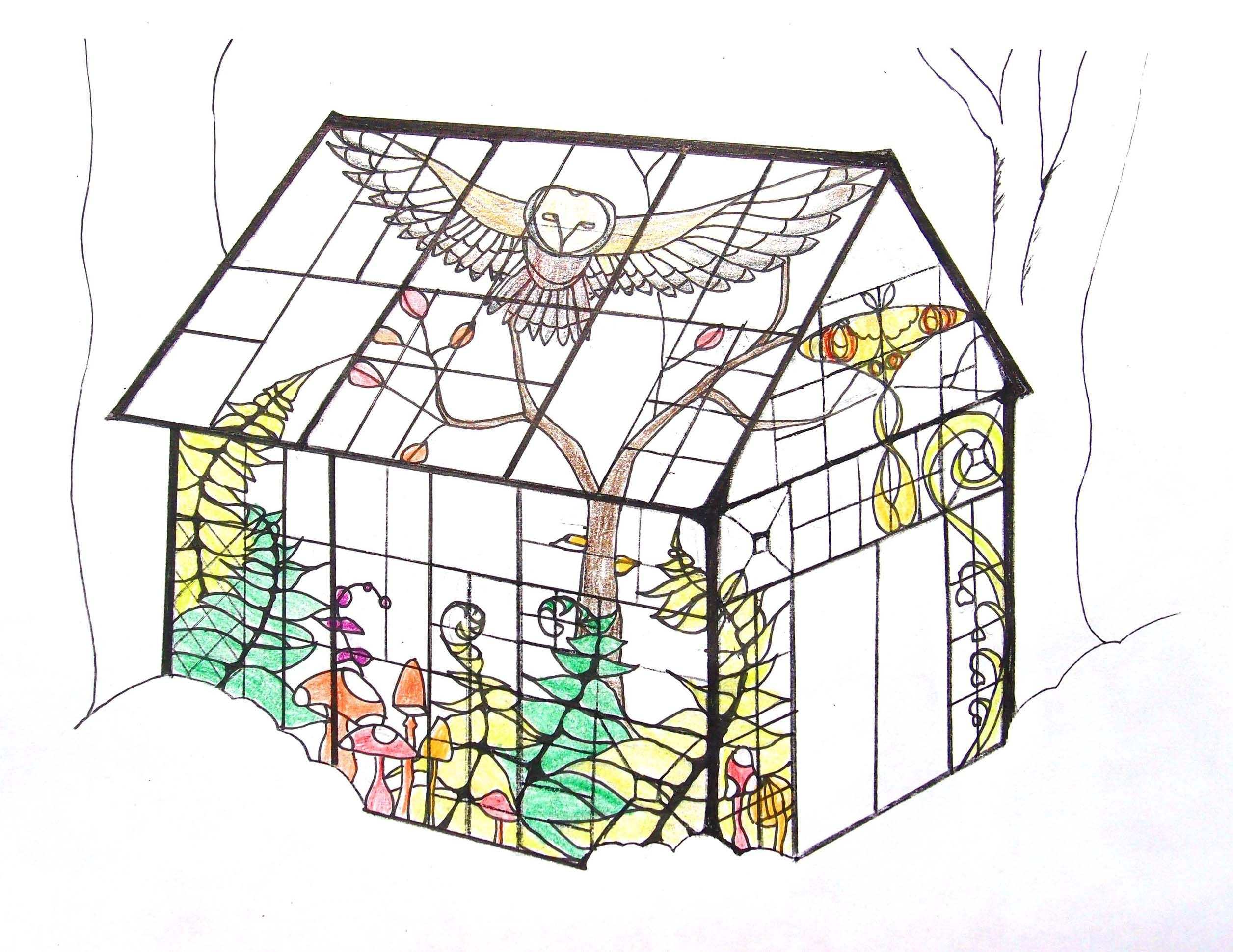 Sketches for a shed studio made from old window frames and stained ...