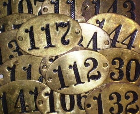 5 Vintage Brass Number Hotel Door Numbers Locker Numbers RESERVED FOR ANNE  PLEASE DO NOT BUY - 5 Vintage Brass Number Hotel Door Numbers Locker Numbers RESERVED