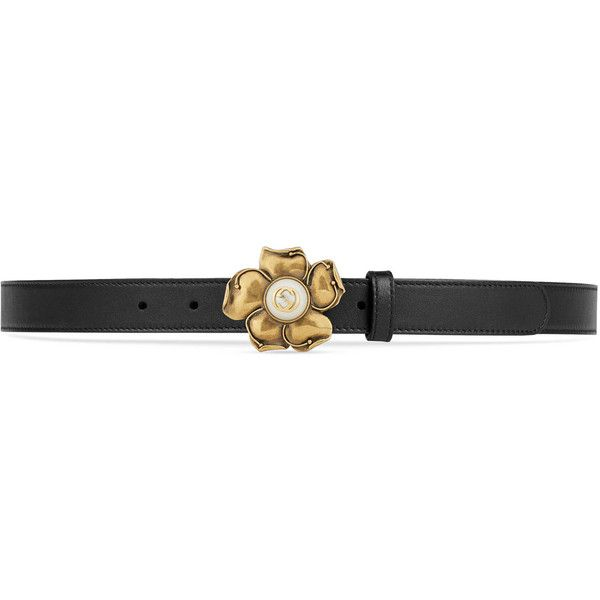 65fd552fa50 Gucci Leather Belt With Metal Flower ( 425) ❤ liked on Polyvore featuring  accessories