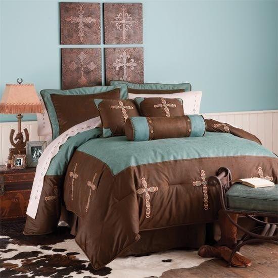 Western Decor Rustic Turquoise Cross Bedding Set Bedroom Ideas