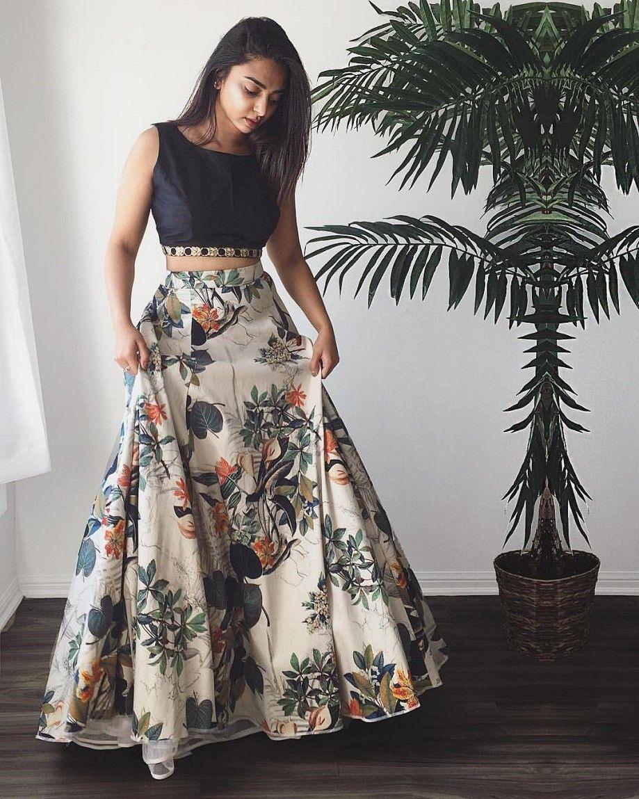4d30e663fe6 Crepe+Silk+Floral+Print+Multicolour+Semi+Stitched+Lehenga+-+Jk4 at Rs 1599
