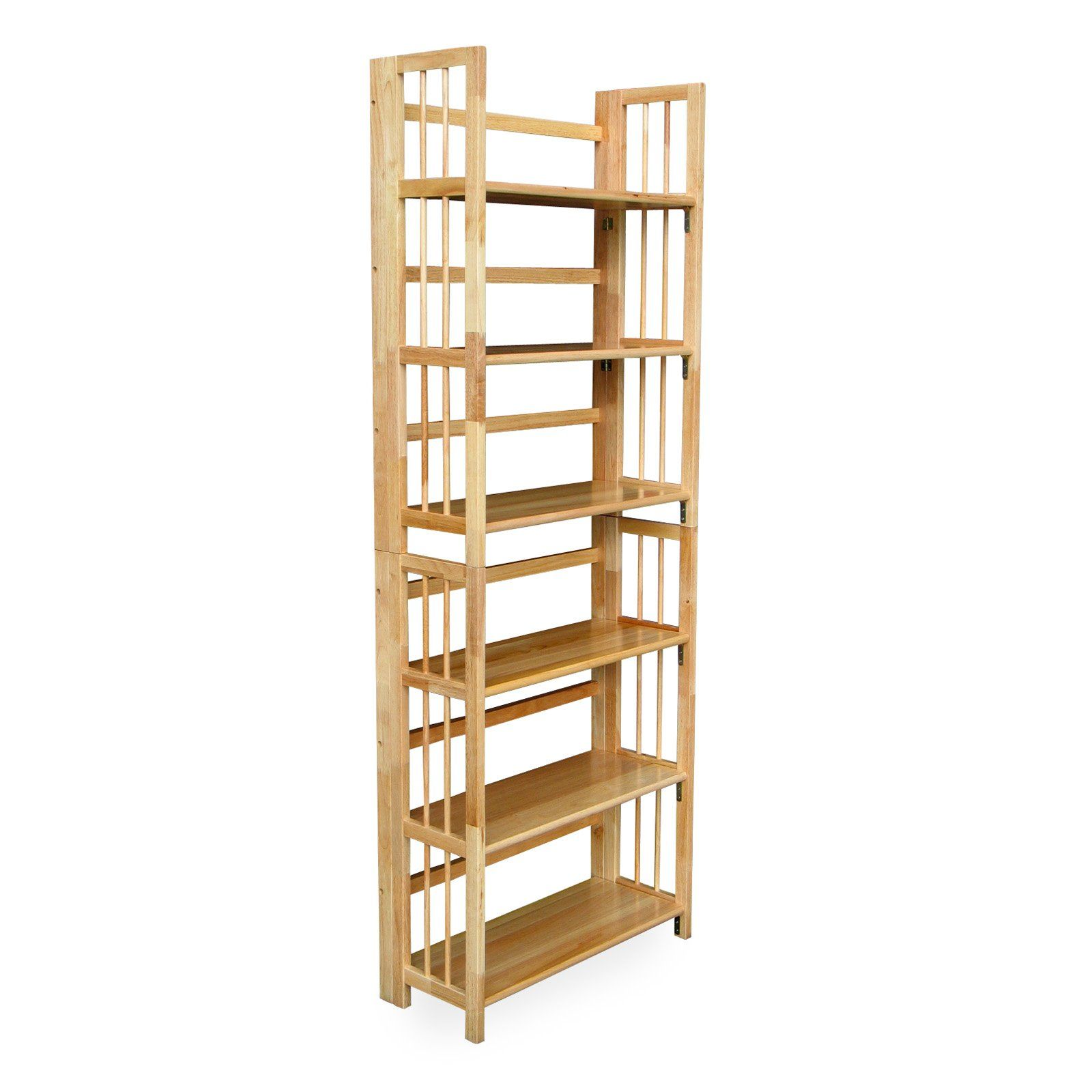 3 Tier Stackable Folding Wood Bookcase Natural Fit For Any Room Or Function