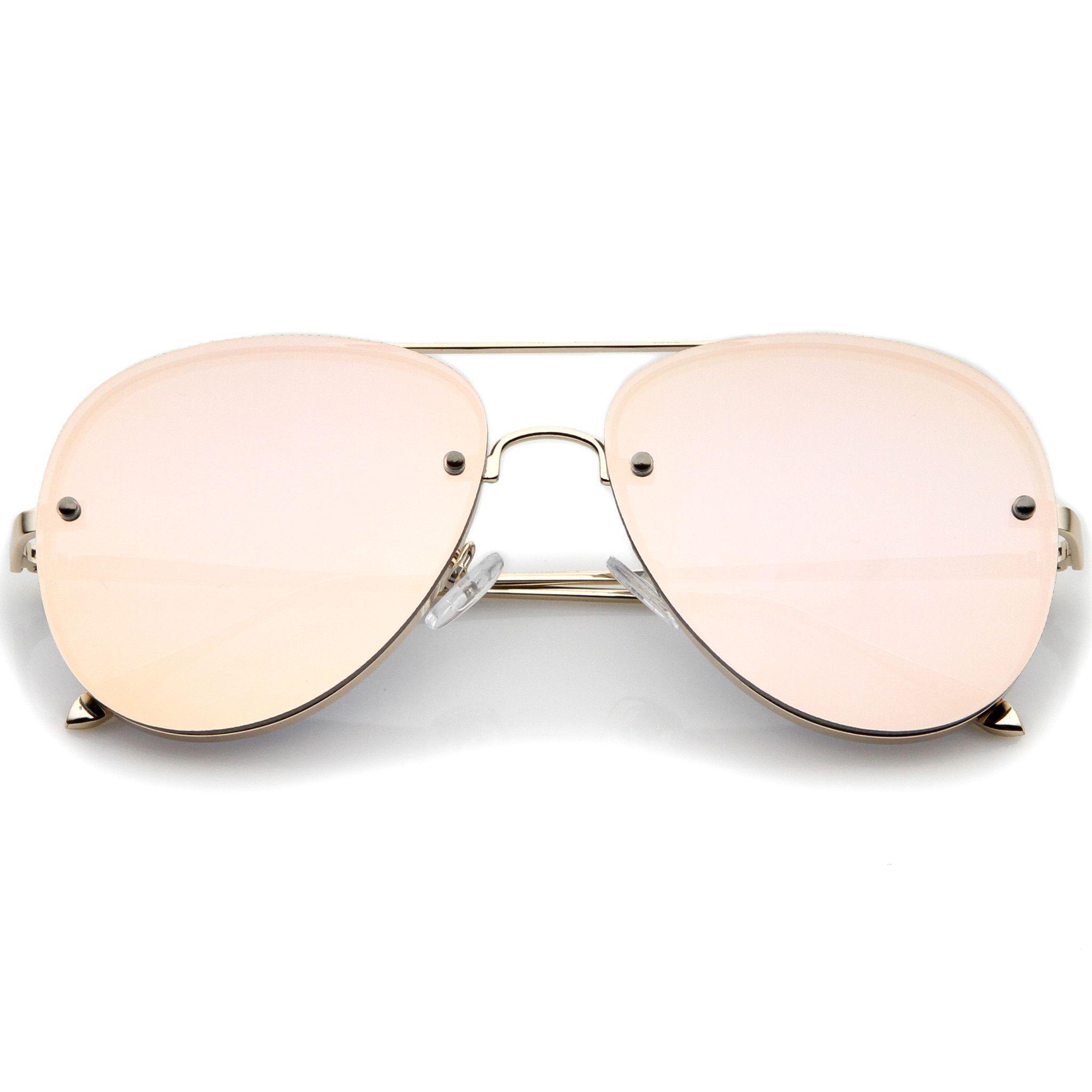Modern Rimless Mirrored Flat Lens Aviator Sunglasses 60mm