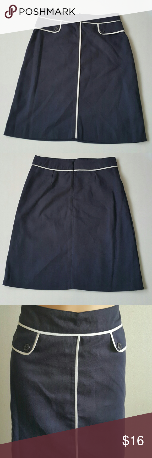 Take me to work - blue Be office chic in this vintage style skirt with white piping and front pocket flaps. New without tags! Skirts A-Line or Full