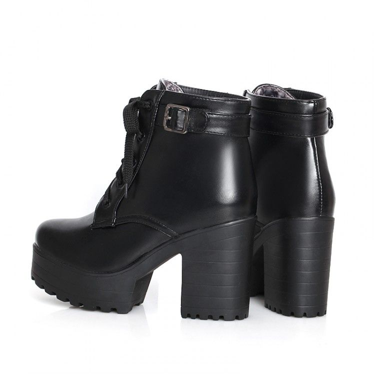 357998324ab Womens Punk Chunky Heel Platform Lace Up Buckle Strap Ankle Boot Shoes Plus  Size Waterproof Boots