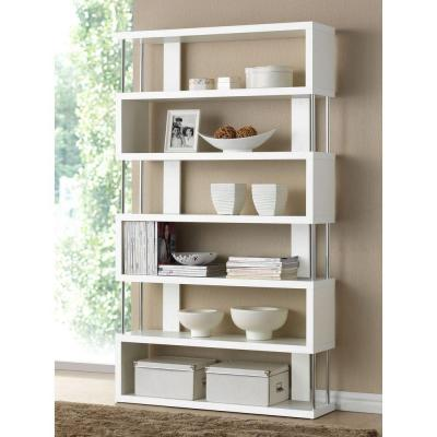 Baxton Studio 75 5 In White Wood 6 Shelf Accent Bookcase With Open Back 28862 4834 Hd In 2020 Modern Shelving Modern Bookcase Shelves