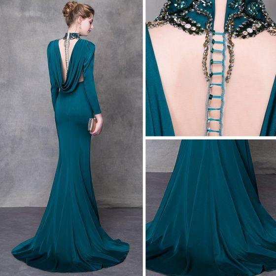 Crystal Beaded Prom Dress,mermaid Prom Dress,champagne