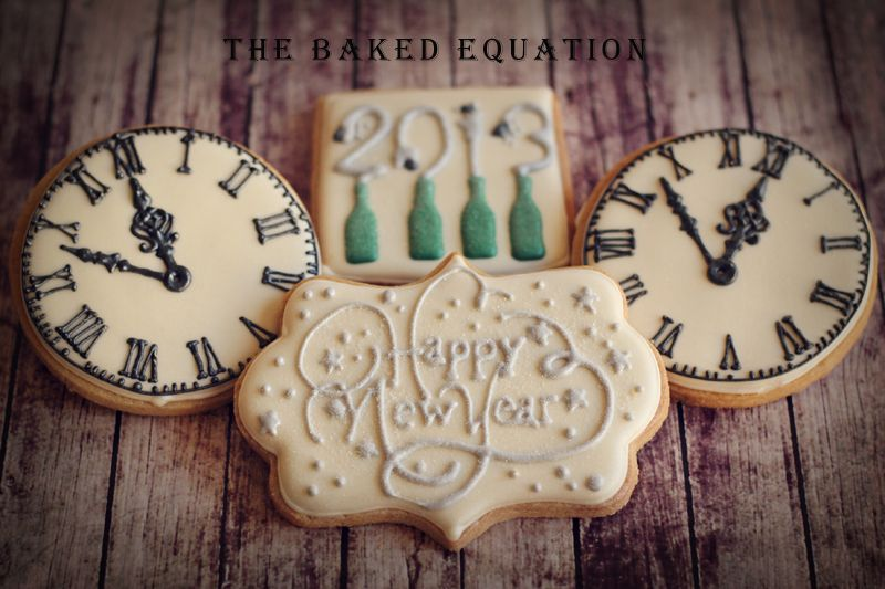 New Year's cookies. The clocks are amazing.
