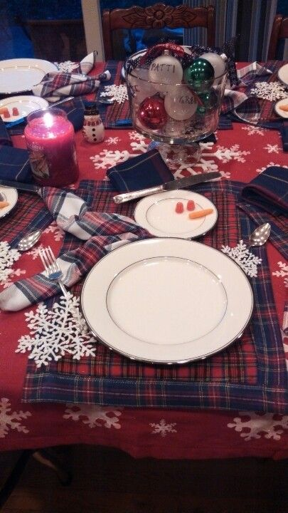 Snow man place setting at the inlaws house