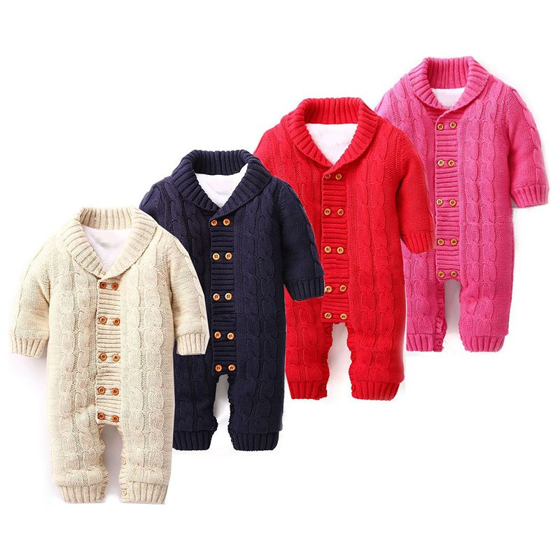 86a165e761ae Newborn Baby Rompers Infant Winter Overalls Thick Fleece Cotton Sweater  Outfits Double Breasted Boy Girl Romper Kids Jumpsuit