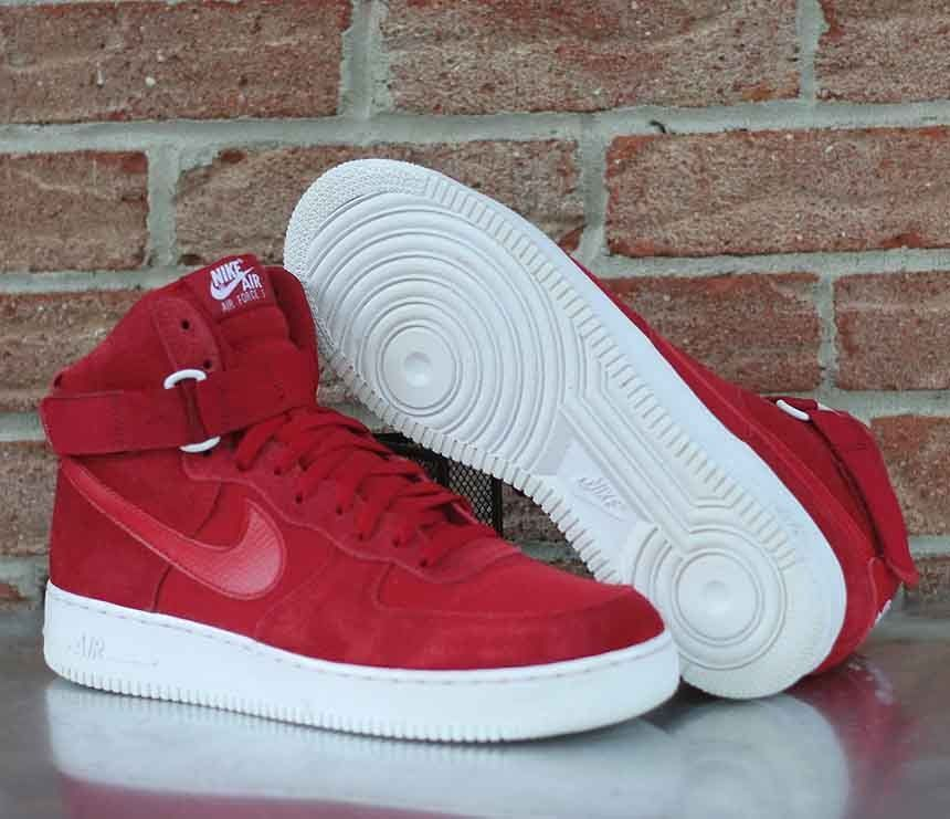 Nike Air Force 1 High '07 AF1 Gym Red Suede White 315121 604