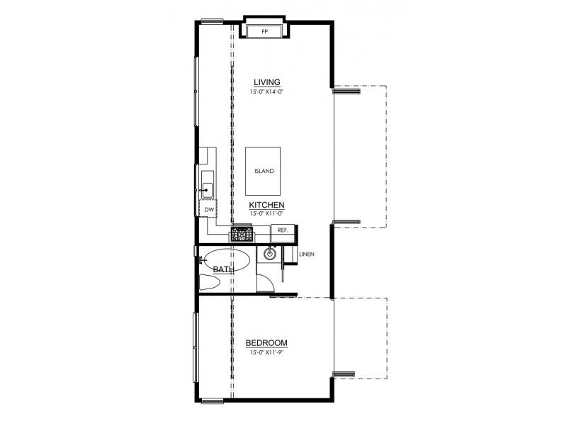 Traditional Style House Plan 1 Beds 1 Baths 700 Sq Ft Plan 484 10 Tiny House Floor Plans Floor Plans Cabin Floor Plans