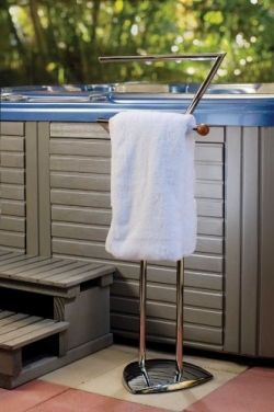 A hot tub towel warmer can provide a warm towel whenever you hop ...