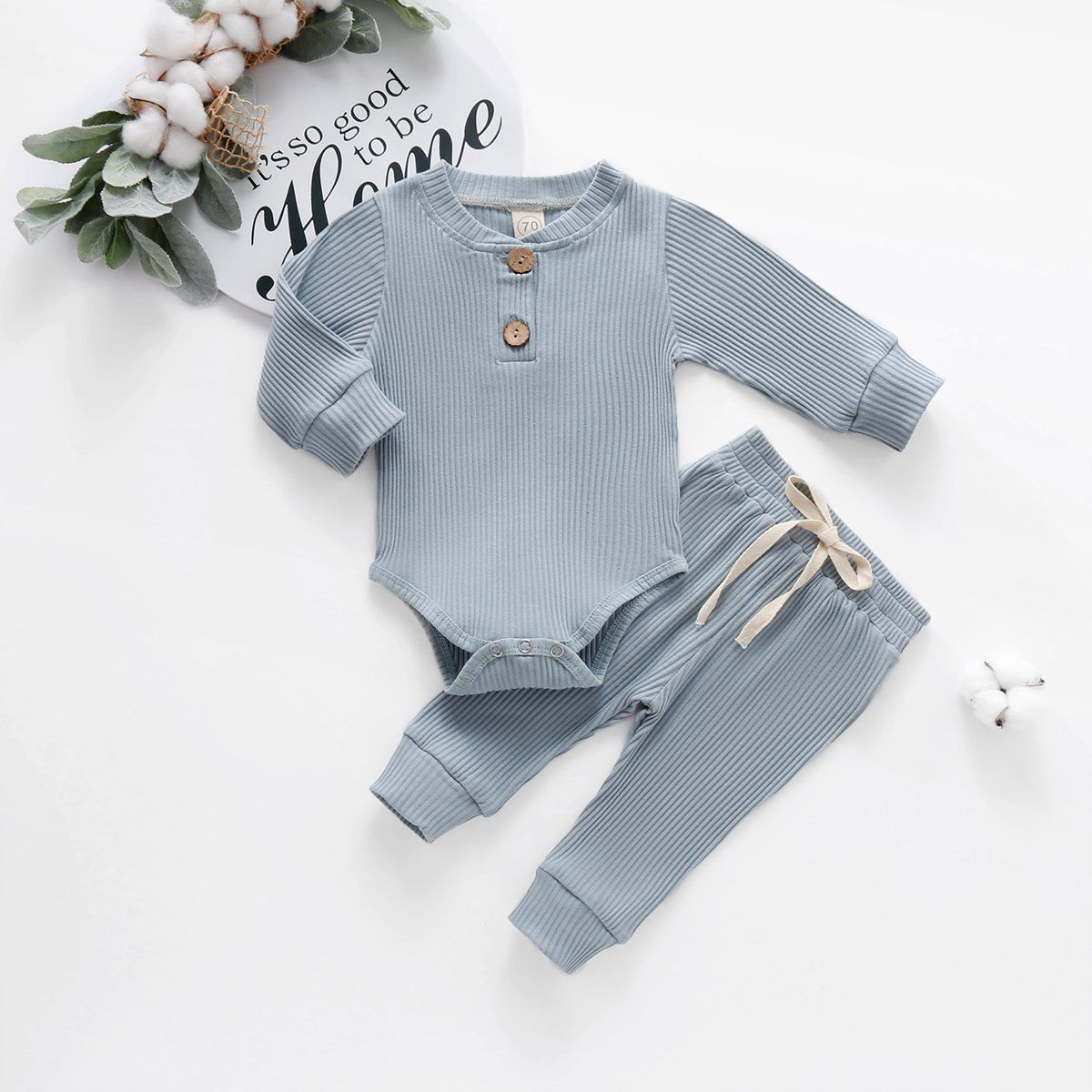 Photo of Light Blue Ribbed 2 Piece Set – 18 Months