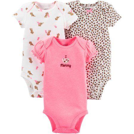 Child Of Mine By Carter's Newborn Baby Girl Bodysuits, 3 ...