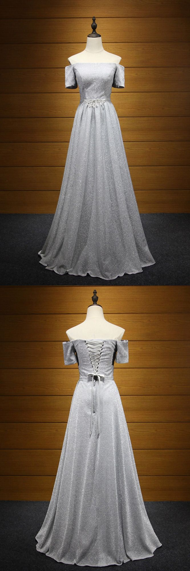Shiny grey long corset formal dress with off shoulder sleeves
