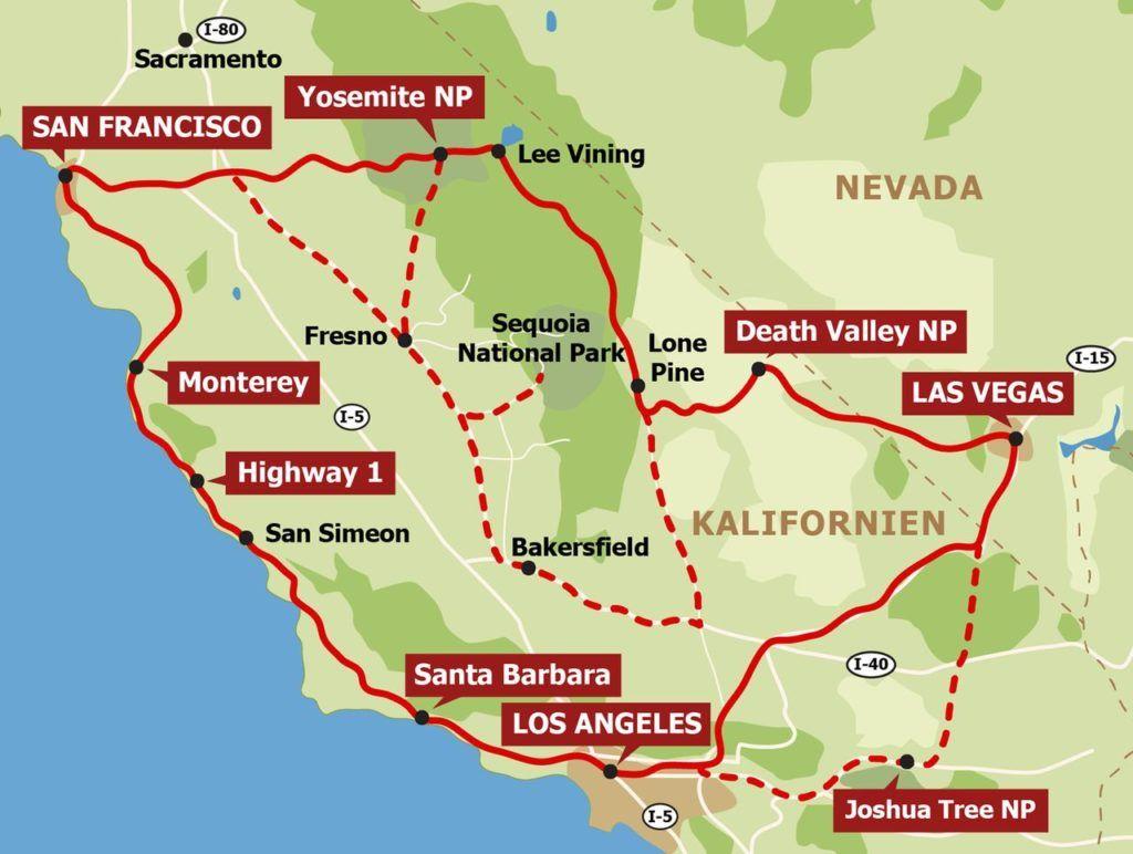 Route Zwei Wochen An Der Westkuste Und Im Sudwesten Kalifornien