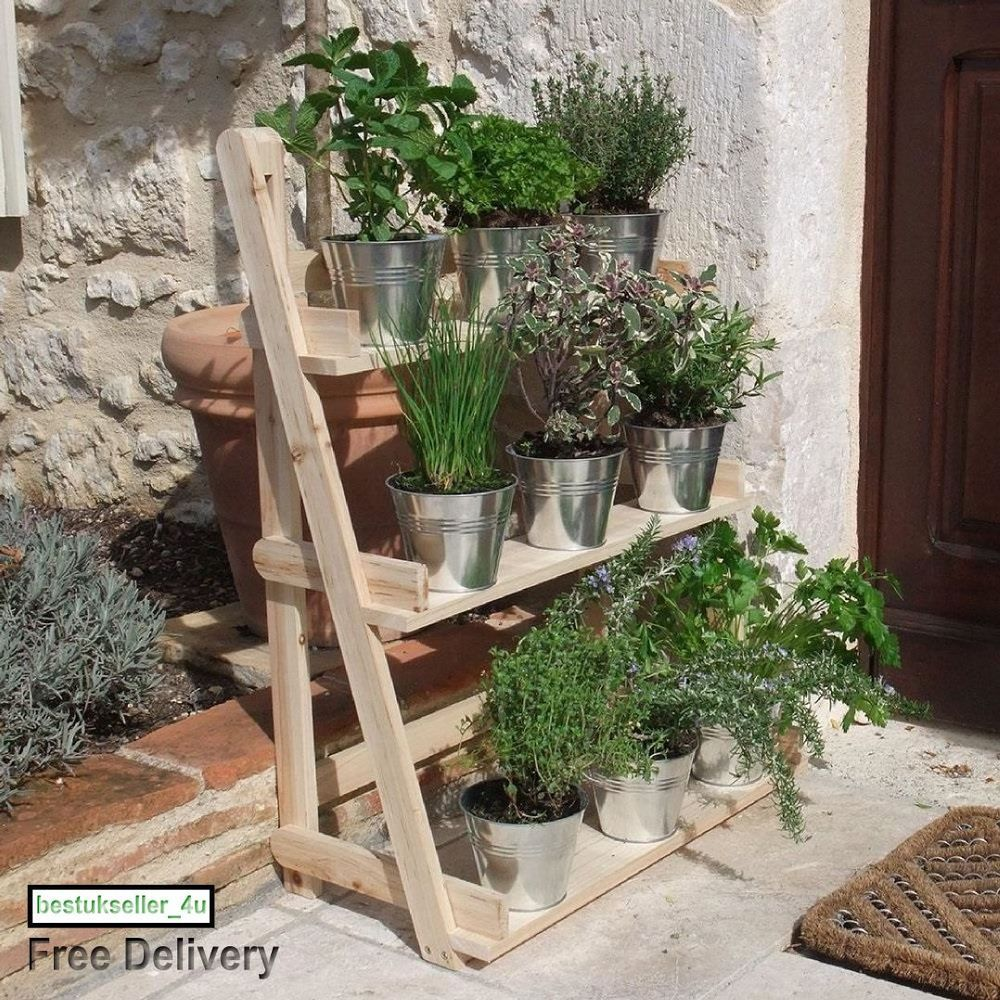 Herb Plant Standing Hanging Planter Natural Wood 3 Tier