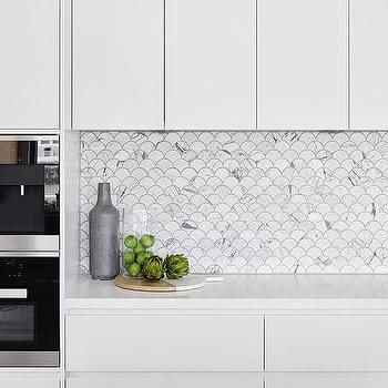 Modern Kitchen Backsplash carrera marble fan shaped fish scale tile backsplash, modern