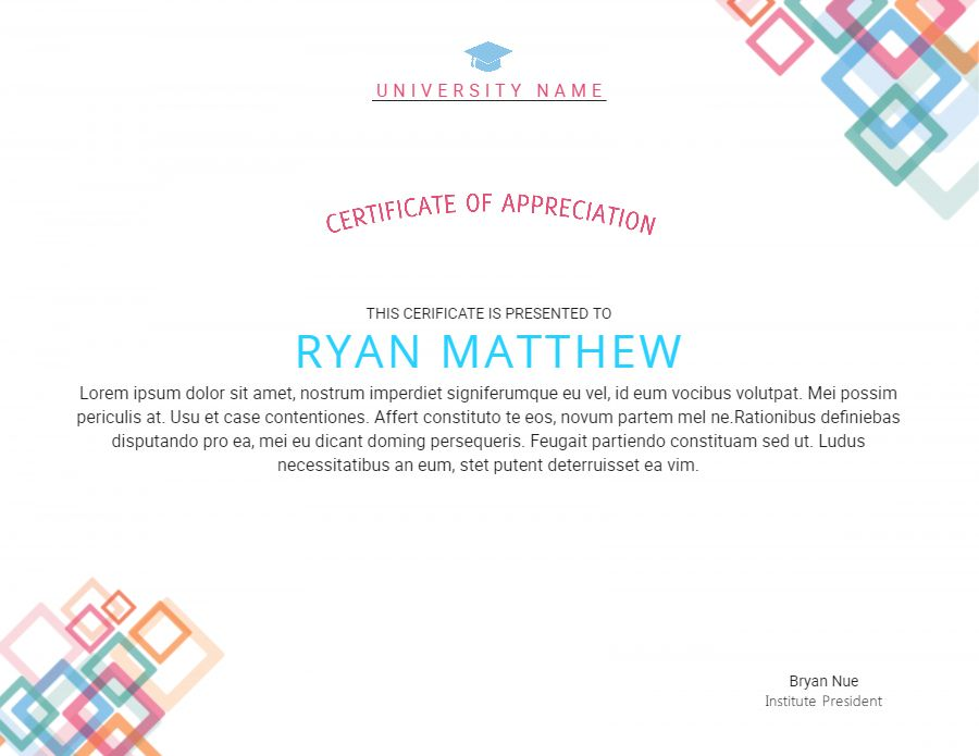 University Certificate Of Appreciation Design Template Modern
