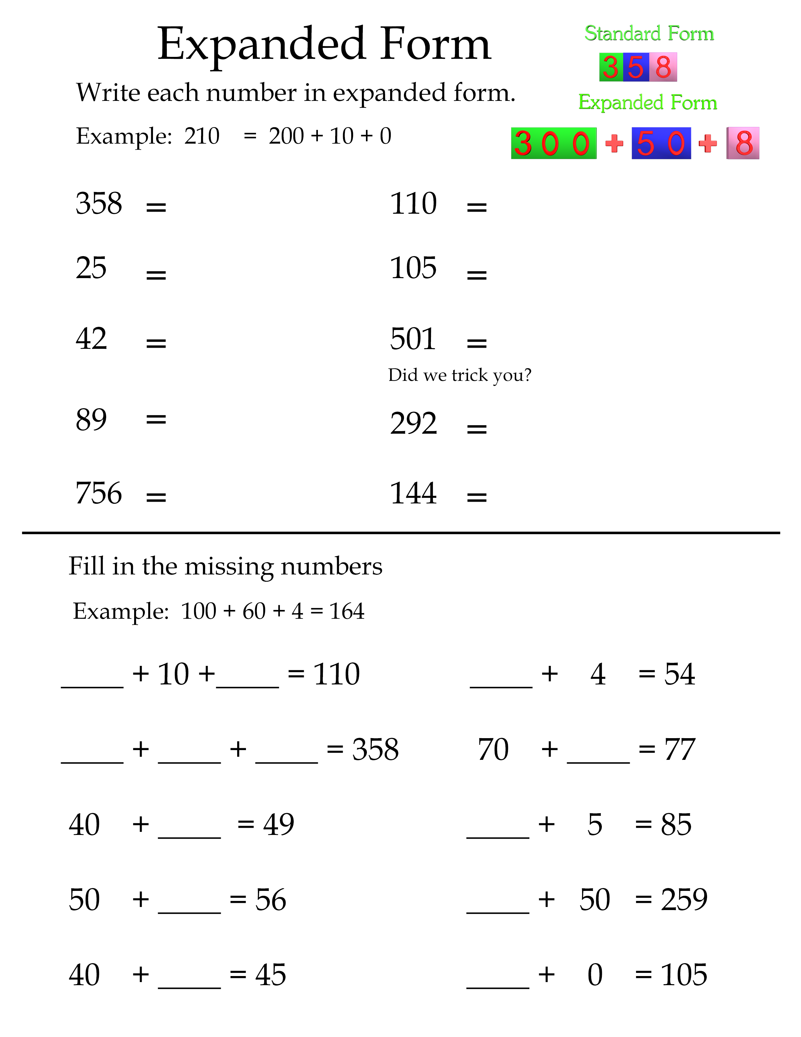 Here is an expanded form worksheet that can be used in the 2nd grade ...