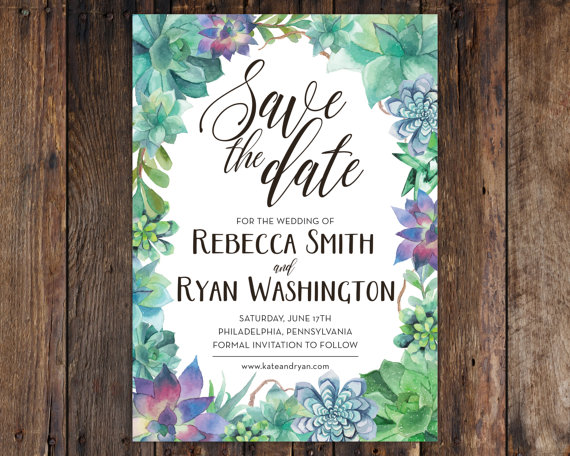 Watercolor Succulent 5x7 Save The Date Invitation Rustic Vintage