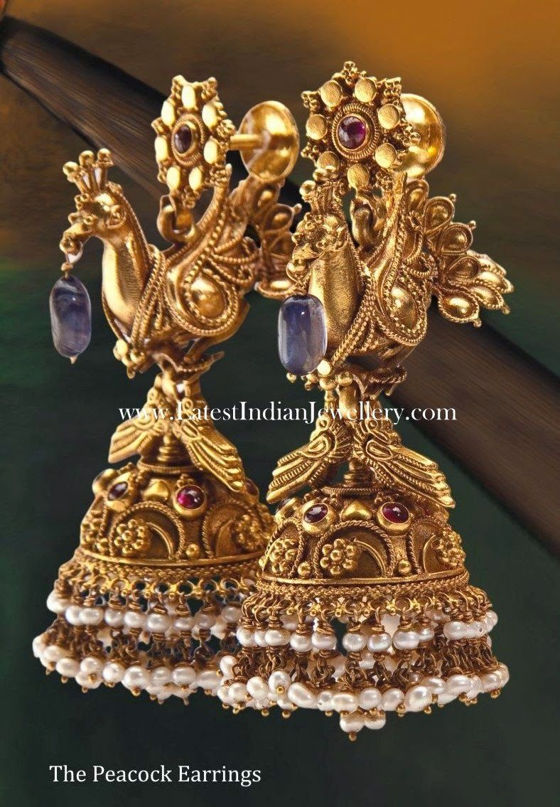 Intricate Gold Jhumkas in Peacock Design | Peacocks, Gold and ...