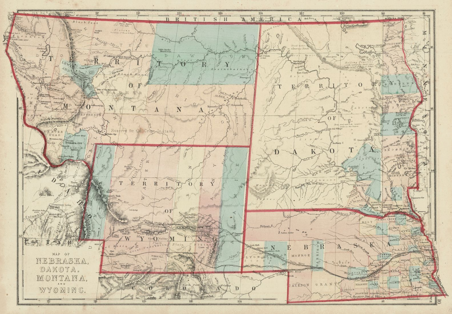 Map of Nebraska Dakota Montana and Wyoming H H Hardesty Co 1875