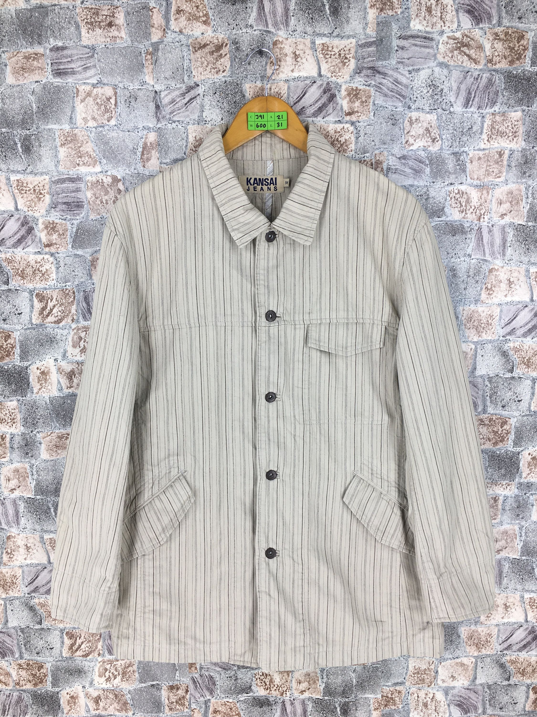 KANSAI Jeans Jacket Medium Vintage 90s Kansai Yamamoto Japan Striped Denim  Beige Jeans Jacket Japanese Designer f6e90086d