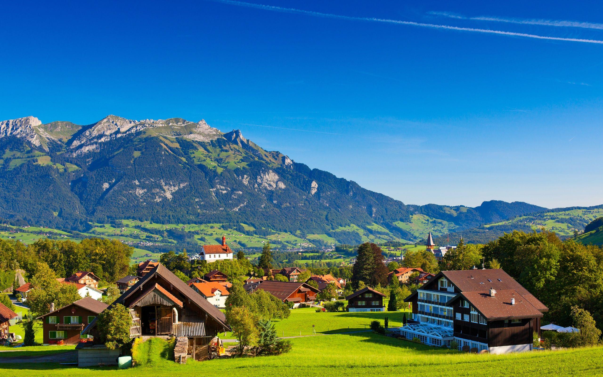 Switzerland Alps Mountains Summer Nature Greenery Houses Wallpaper 2560x1600 Hermosos Paisajes Lugares De Luna De Miel Paisajes