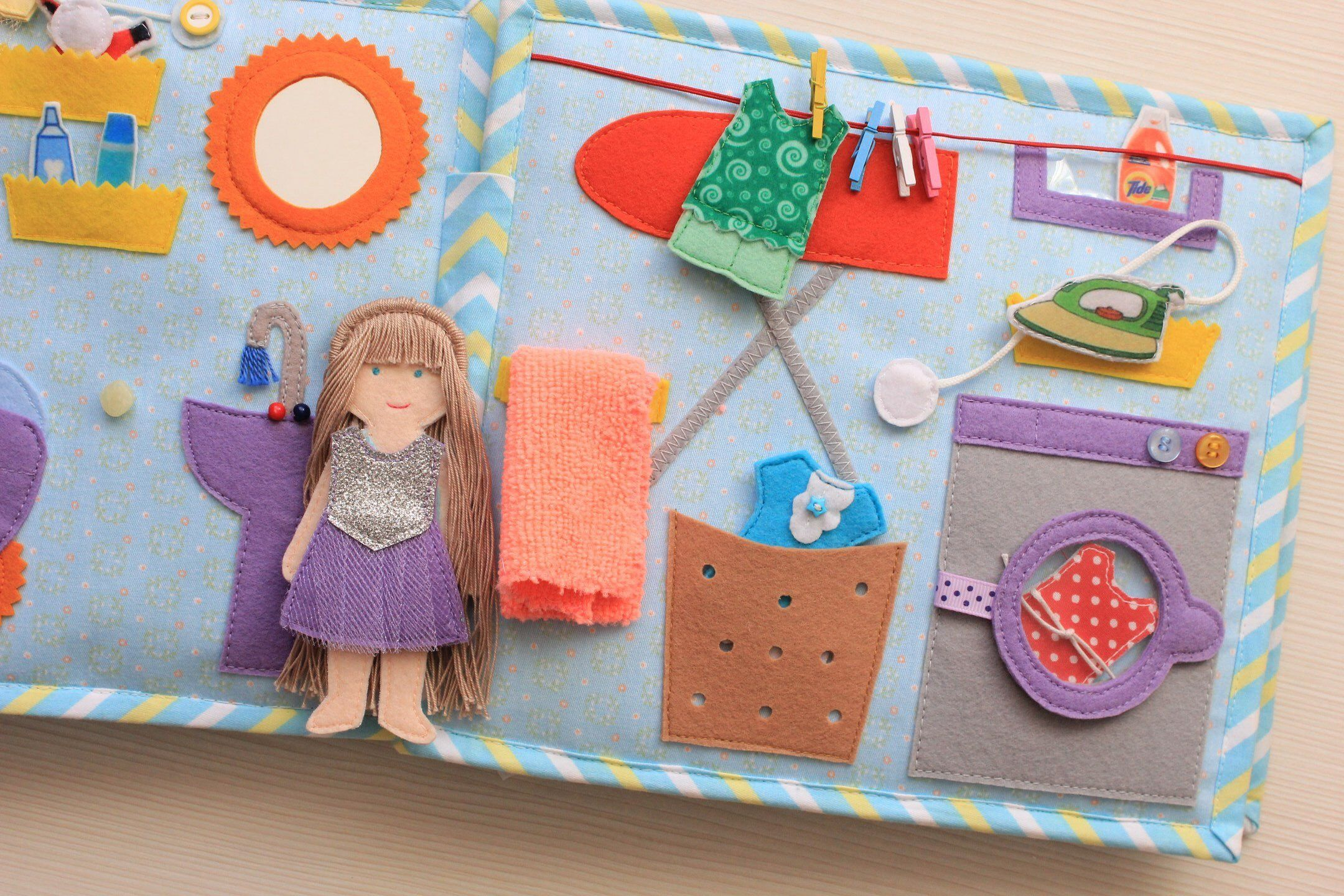 Quiet Book Dollhouse With Felt Doll And Clothes The Size