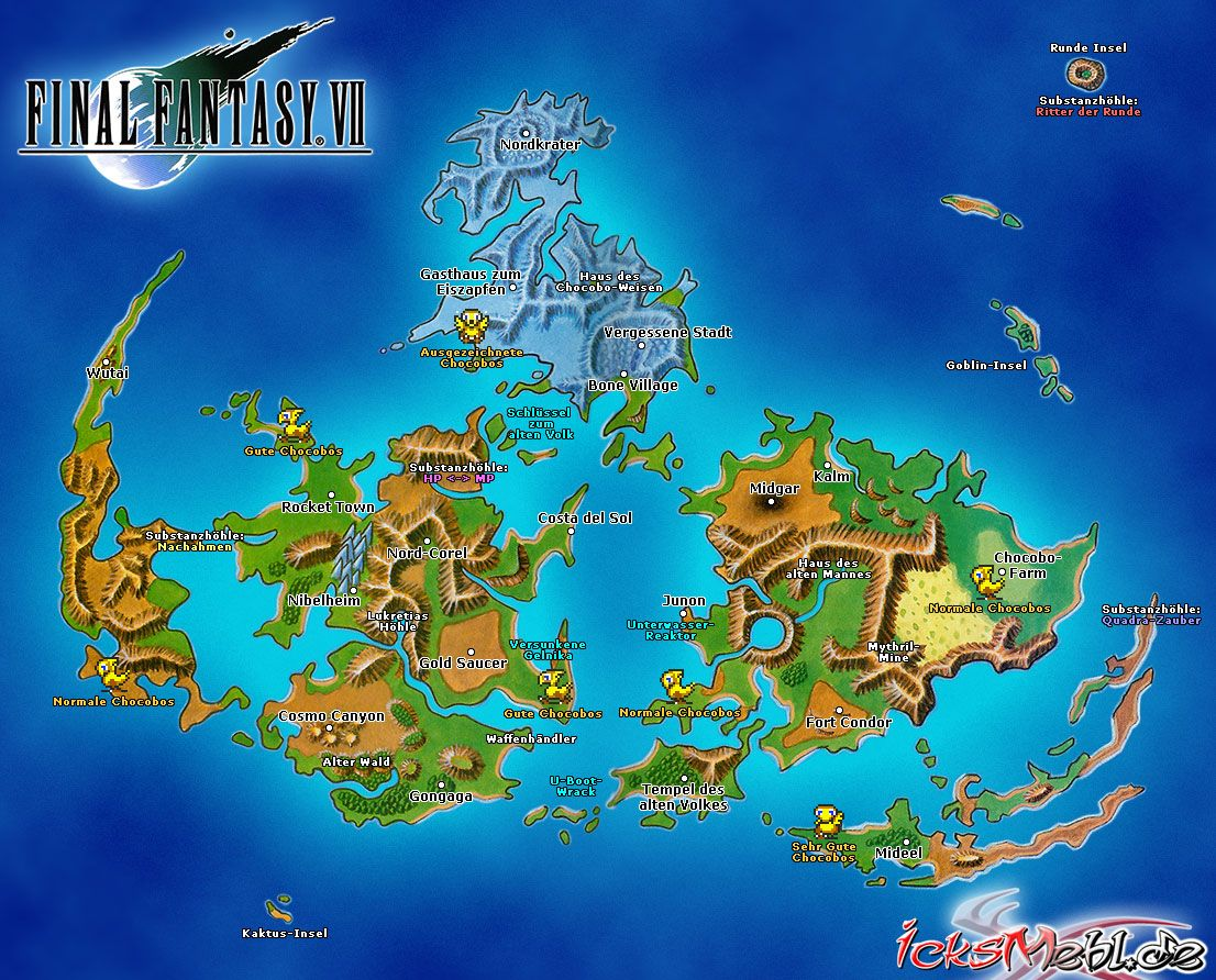 Final Fantasy 7 World Map Final Fantasy Vii Final Fantasy Final